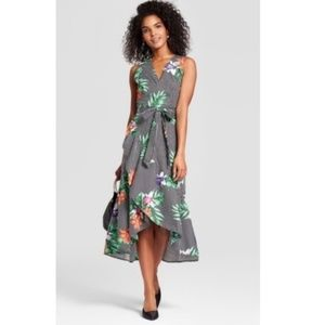 Hi-Lo Wrap Dress in Tropical Floral Design